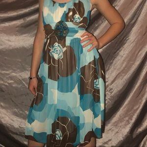 Ruby Rox floral turquoise dress